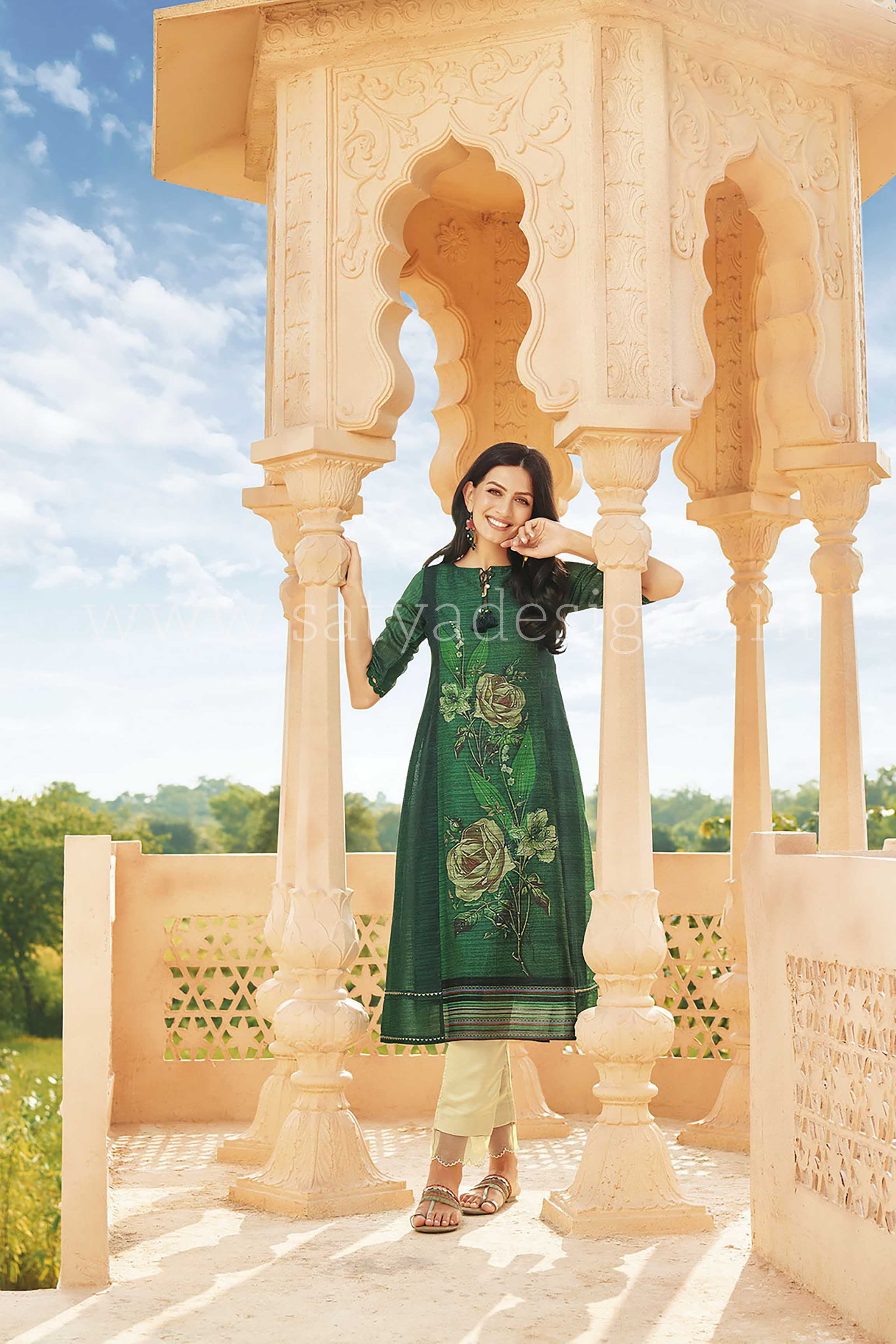 Green Polyester Dreamy Floral Kurta Collection